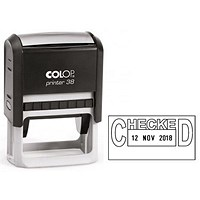 COLOP Printer 38 Self Inking Date and Messages Stamp CHECKED
