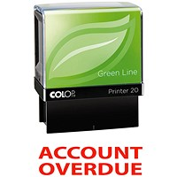 COLOP Green Line Word Stamp Account OVERDUE Red