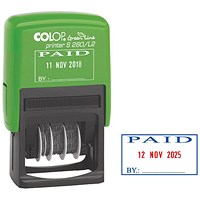COLOP S260/L2 Green Line Text and Date Stamp PAID GLS260L2