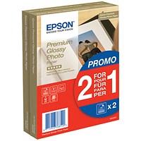 Epson Premium Glossy Photo Paper, 100mm x 150mm, 255gsm, Pack of 40, Buy one get one FREE