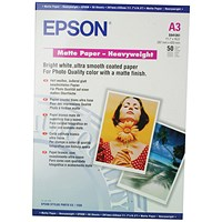 Epson A3 Matte Heavyweight 167gsm Photo Paper (Pack of 50) C13S041261