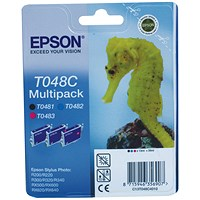 Epson Inkjet Multi Pack T048C40- Black, Cyan and Magenta (3 Cartridges)