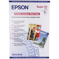 Epson A3 Premium Semi-Gloss Photo Paper A3+ 250gsm (Pack of 20) C13S041328