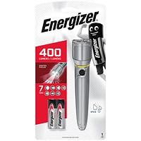 Energizer Metal LED Torch 2xAA Silver 634041