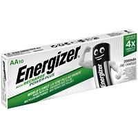 Energizer Rechargeable Battery, NiMH Capacity 2000mAh HR6, 1.2V, AA - Pack of 10