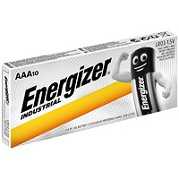 Energizer Industrial Long Life Battery, LR03, 1.5V, AAA, Pack of 10