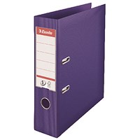 Esselte No. 1 Power A4 Lever Arch Files, Slotted Covers, Purple, Pack of 10