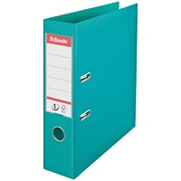 Esselte No. 1 Power A4 Lever Arch Files, Slotted Covers, Turquoise, Pack of 10