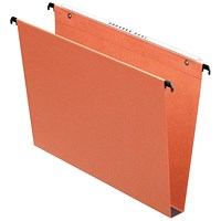 Esselte Orgarex Suspension Files, Square Base, 30mm Capacity, Foolscap, Orange, Pack of 50