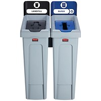 Rubbermaid Slim Jim 2 Stream Recycling Station Black/Blue