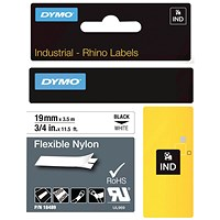 Dymo 18489 Rhino flexible nylon tape black on white 19mm 18489