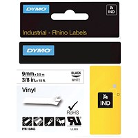 Dymo 18443 Rhino Black on White Label Printer Tape 9mm S0718580