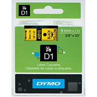 Dymo D1 Tape for Electronic Labelmakers 9mmx7m Black on Yellow Ref 40918 S0720730