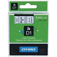 Dymo 43610 D1 LabelManager Tape 6mm x 7m Black on Clear S0720770