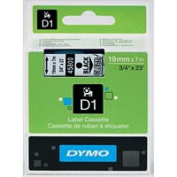 Dymo D1 Tape for Electronic Labelmakers 19mmx7m Black on Clear Ref 45800 S0720820