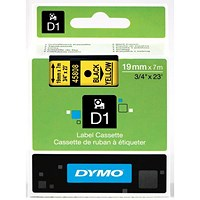 Dymo D1 Tape for Electronic Labelmakers 19mmx7m Black on Yellow Ref 4580845808 S0720880