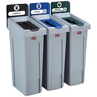 Rubbermaid Slim Jim 3 Stream Black/Blue/Green