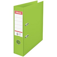Esselte No. 1 Power A4 Lever Arch Files, 75mm Spine, Green, Pack of 10