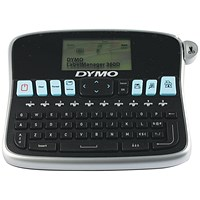 Dymo LabelManager 360D 2 Line Display Prints 2 Lines for 6 9 12 19mm D1 Ref S0879490