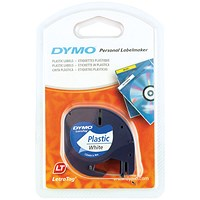 Dymo Letratag Plastic Tape 12mmx4m White PRL S0721660