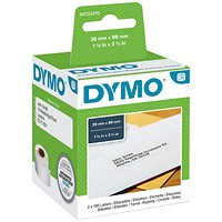 Dymo Labelwriter Labels Standard Address 28x89mm White Ref 99010 S0722370 [Pack 2x130]