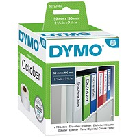 Dymo LabelWriter Labels Lever Arch File Large 59x190mm White Ref 99019 S0722480 [Pack 110]