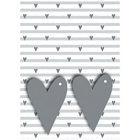 Grey Hearts Gift Wrap and Tags (Pack of 12)