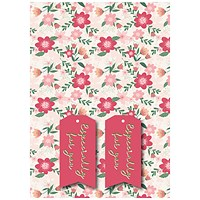 Pink Floral Gift Wrap and Tags (Pack of 12)