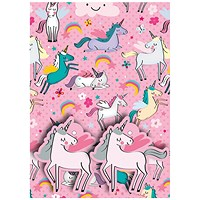 Pink Unicorns Gift Wrap and Tags (Pack of 12)