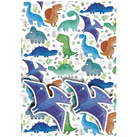 Dinosaurs Gift Wrap and Tags (Pack of 12)
