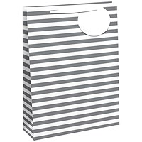 Striped Gift Bag Medium White/Silver (Pack of 6)