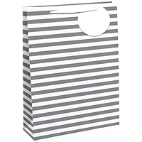 Striped Gift Bag Large White/Silver (Pack of 6)
