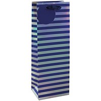 Striped Bottle Bag Blue/Silver (Pack of 6)