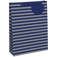 Striped Gift Bag Medium Blue/Silver (Pack of 6)
