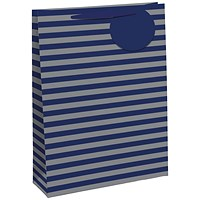 Striped Gift Bag Large Blue/Silver (Pack of 6)