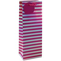 Striped Bottle Bag Pink/Silver (Pack of 6)