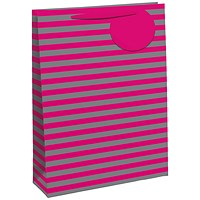 Striped Gift Bag Medium Pink/Silver (Pack of 6)