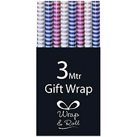 Assorted Striped Foil Gift Wrap (Pack of 36)