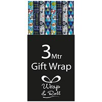 Assorted Blue Happy Birthday Gift Wrap (Pack of 39)
