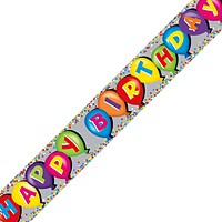 Holographic Happy Birthday Balloon Banner (Pack of 6)