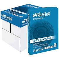 Evolution Business A4 Recycled Paper, White, 80gsm, Box (5 x 500 Sheets)