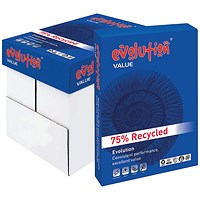 Evolution Value A4 Recycled Paper White, 80gsm, Box (5 x 500 Sheets)