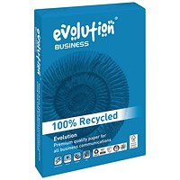 Evolution Business A4 Recycled Paper White , 120gsm, Ream (250 Sheets)