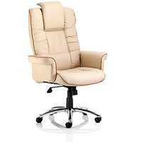 Chelsea Leather Executive Chair, Cream, Built