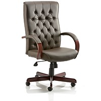 Chesterfield Leather Executive Chair, Brown, Built