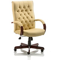 Chesterfield Leather Executive Chair, Cream, Built