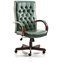 Chesterfield Leather Executive Chair - Green