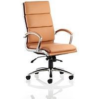 Classic High Back Executive Chair, Leather, Tan, Built