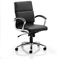Classic Medium Back Executive Leather Chair - Black