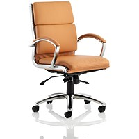 Classic Medium Back Executive Chair, Leather, Tan, Built